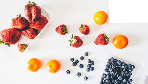 strawberries, oranges, tangerines, blueberries