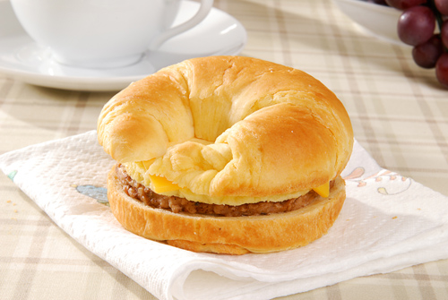premade breakfast sandwich, sausage egg and cheese croissant